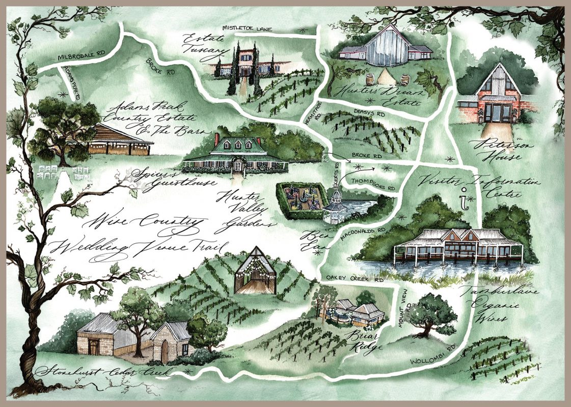 Wine Country Wedding Trail Tour Map